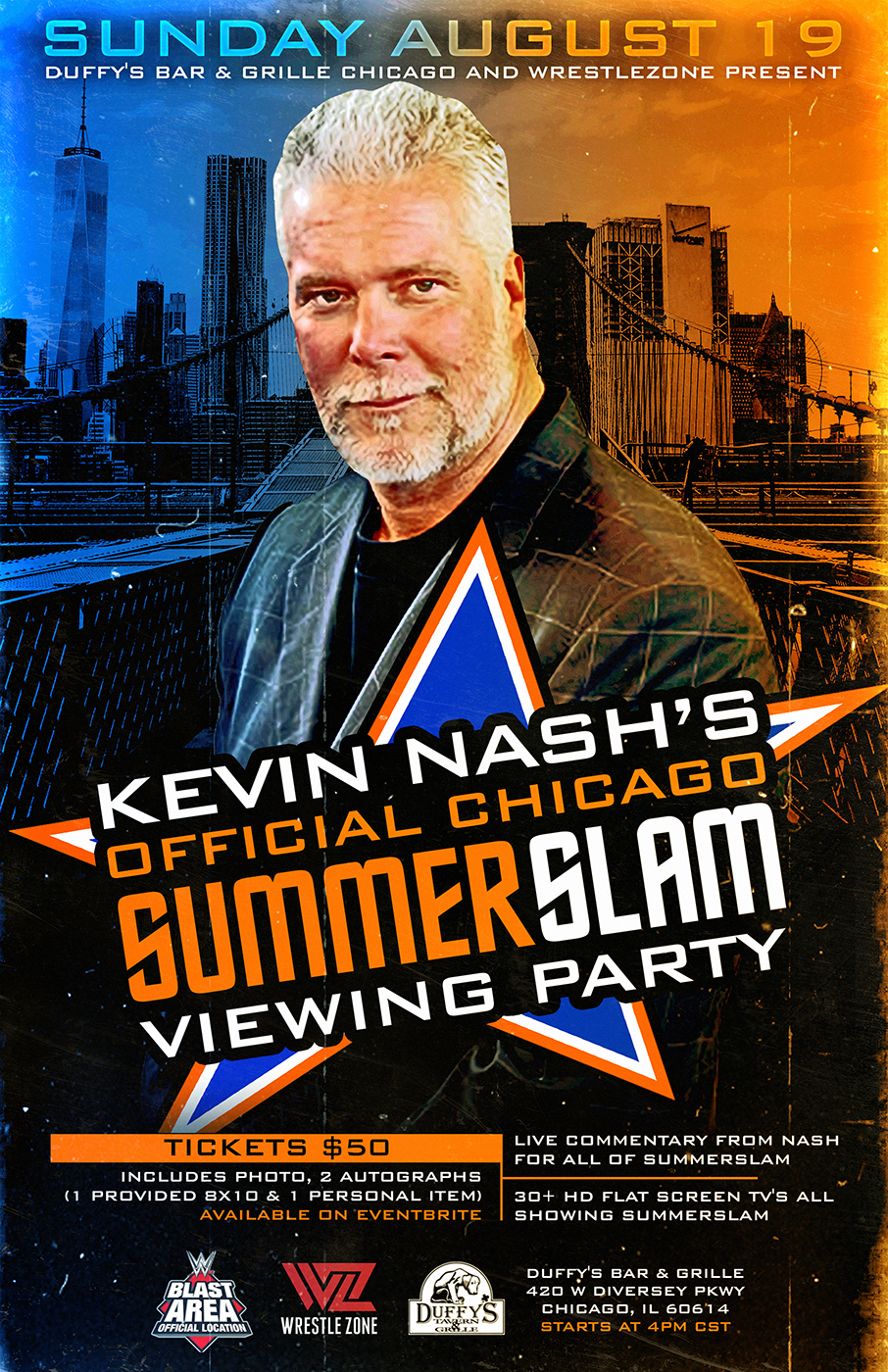 Kevin Nash's Official Chicago SummerSlam Viewing Party; Full Details