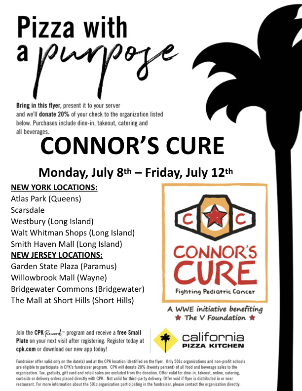 California Pizza Kitchen Partners With Wwe Connor S Cure